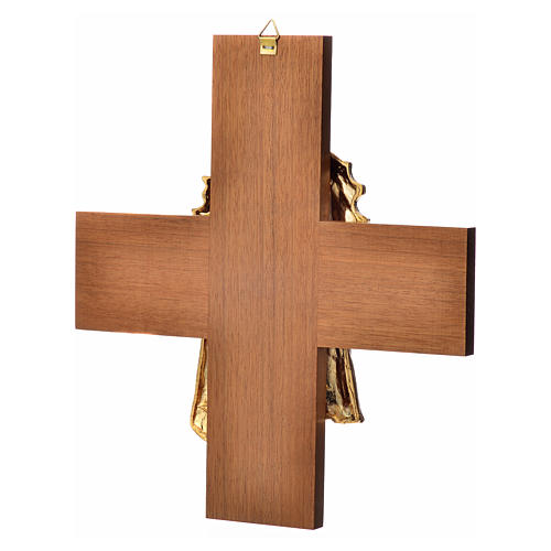 Croce legno noce volto di Cristo metallo 8