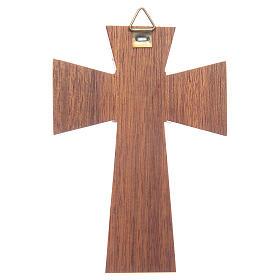 Crocifisso legno di noce corpo argentato cm 10 s2
