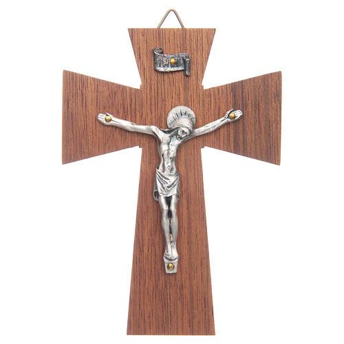 Crocifisso legno di noce corpo argentato cm 10 1