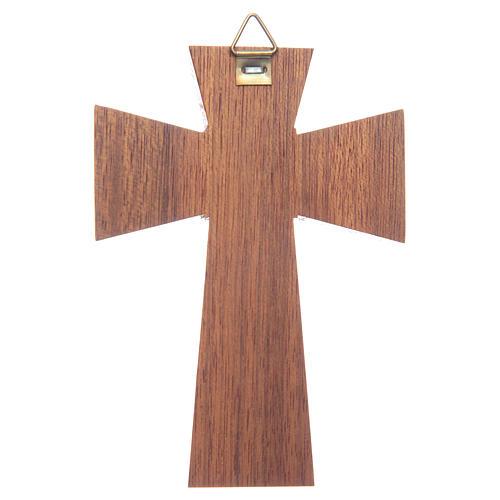 Crocifisso legno di noce corpo argentato cm 10 2