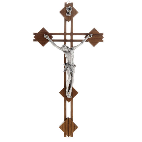 Crucifijo estilizado con cuadrados en madera de nogal 1