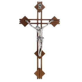 Crucifix en bois: Crucifix stylisé, bois de noix, corps argenté
