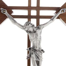 Crocifisso stilizzato quadri legno noce corpo argentato s2