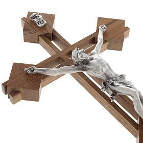 Crocifisso stilizzato quadri legno noce corpo argentato s4