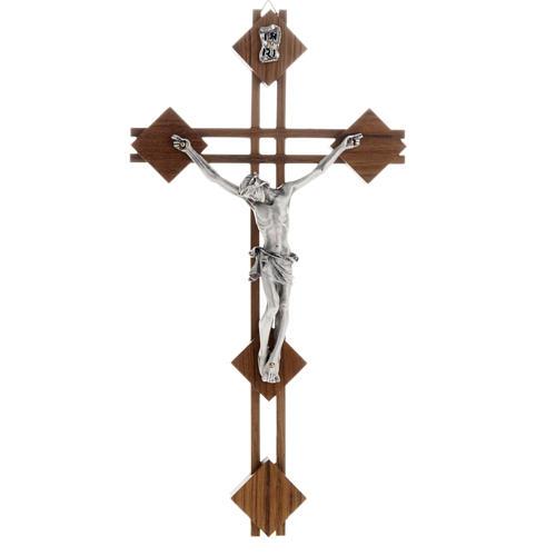 Crocifisso stilizzato quadri legno noce corpo argentato 1