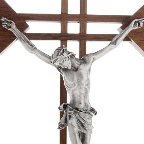 Crocifisso stilizzato quadri legno noce corpo argentato 2