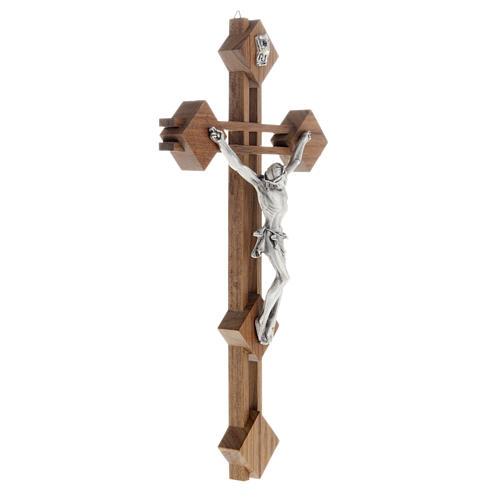 Crocifisso stilizzato quadri legno noce corpo argentato 3