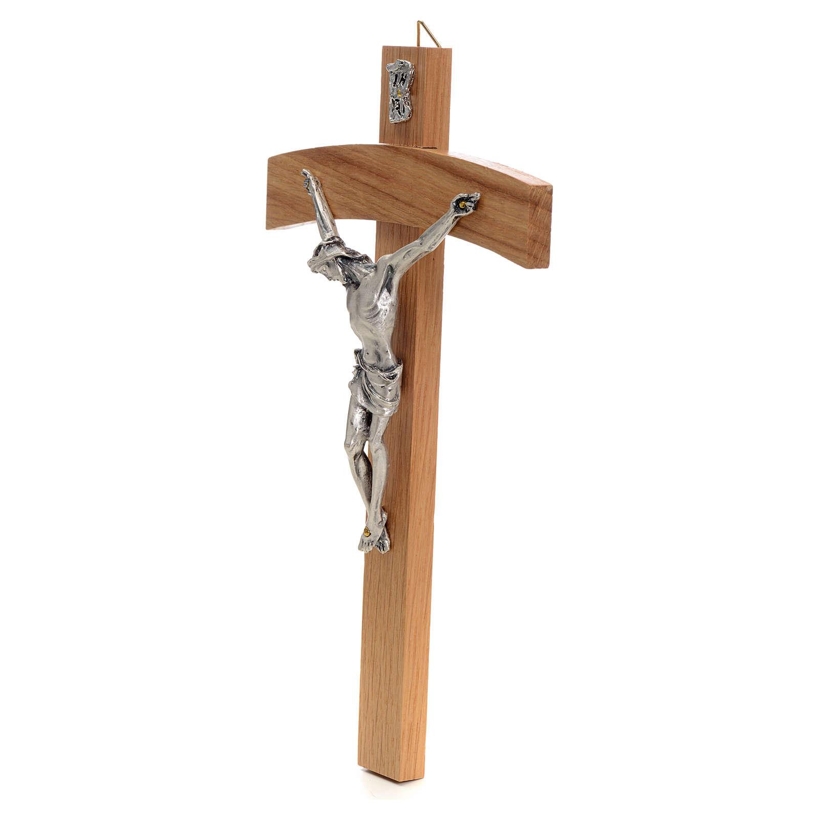 Croce curva legno rovere corpo metallo 4