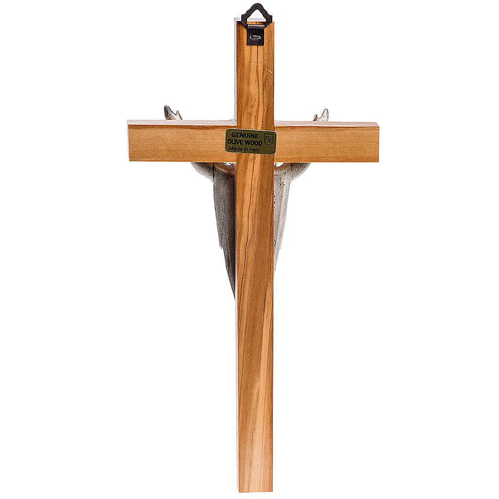 Crucifix stylisé, bois d'acajou corps argenté 4