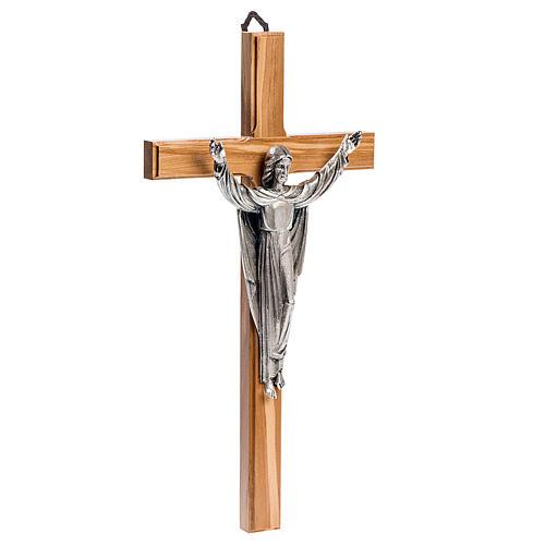 Crucifix stylisé, bois d'acajou corps argenté 3