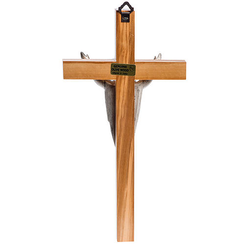 Croce stilizzata mogano corpo Gesù argentato 4