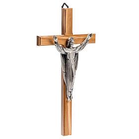 Cruz estilizada mogno corpo Jesus prateado s3
