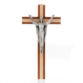 Cristo resucitado sobre una cruz de madera caoba y pino s1
