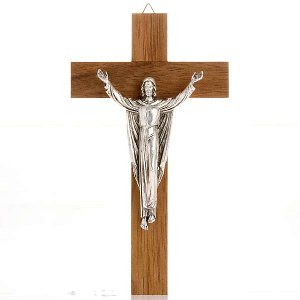 Christ ressuscité croix bois noyer 4
