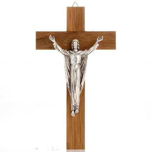 Christ ressuscité croix bois noyer 1