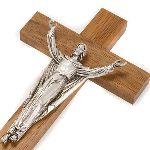 Resurrected Christ, walnut wood cross 3