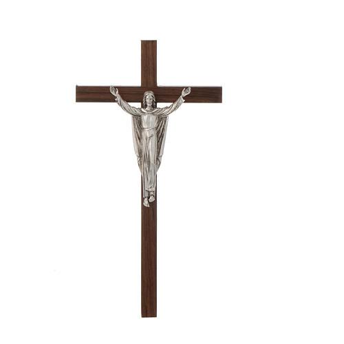 Cristo resucitado, cruz madera de nogal delgado 1