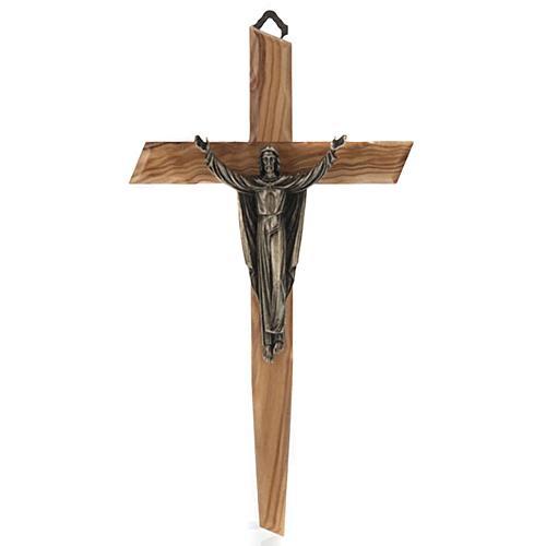Cristo resucitado en bronce, cruz madera de olivo 1