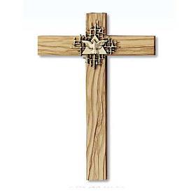 Crucifix bois d'olivier, Père, Saint Esprit dor&eacu s1