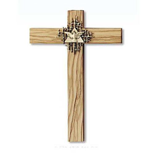 Crucifix bois d'olivier, Père, Saint Esprit dor&eacu 1