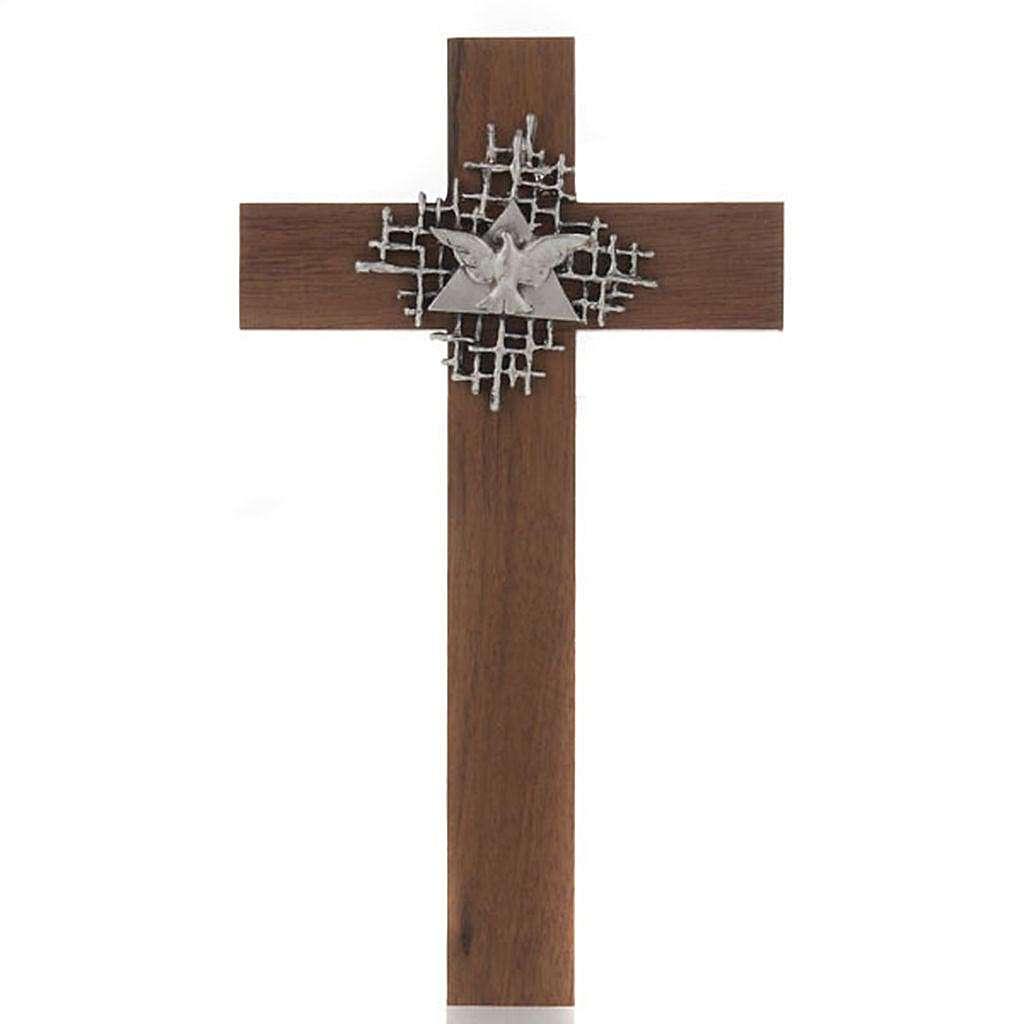 Croce legno noce Padre e Spirito Santo 4