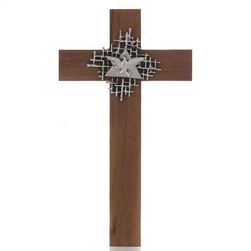 Croce legno noce Padre e Spirito Santo 1