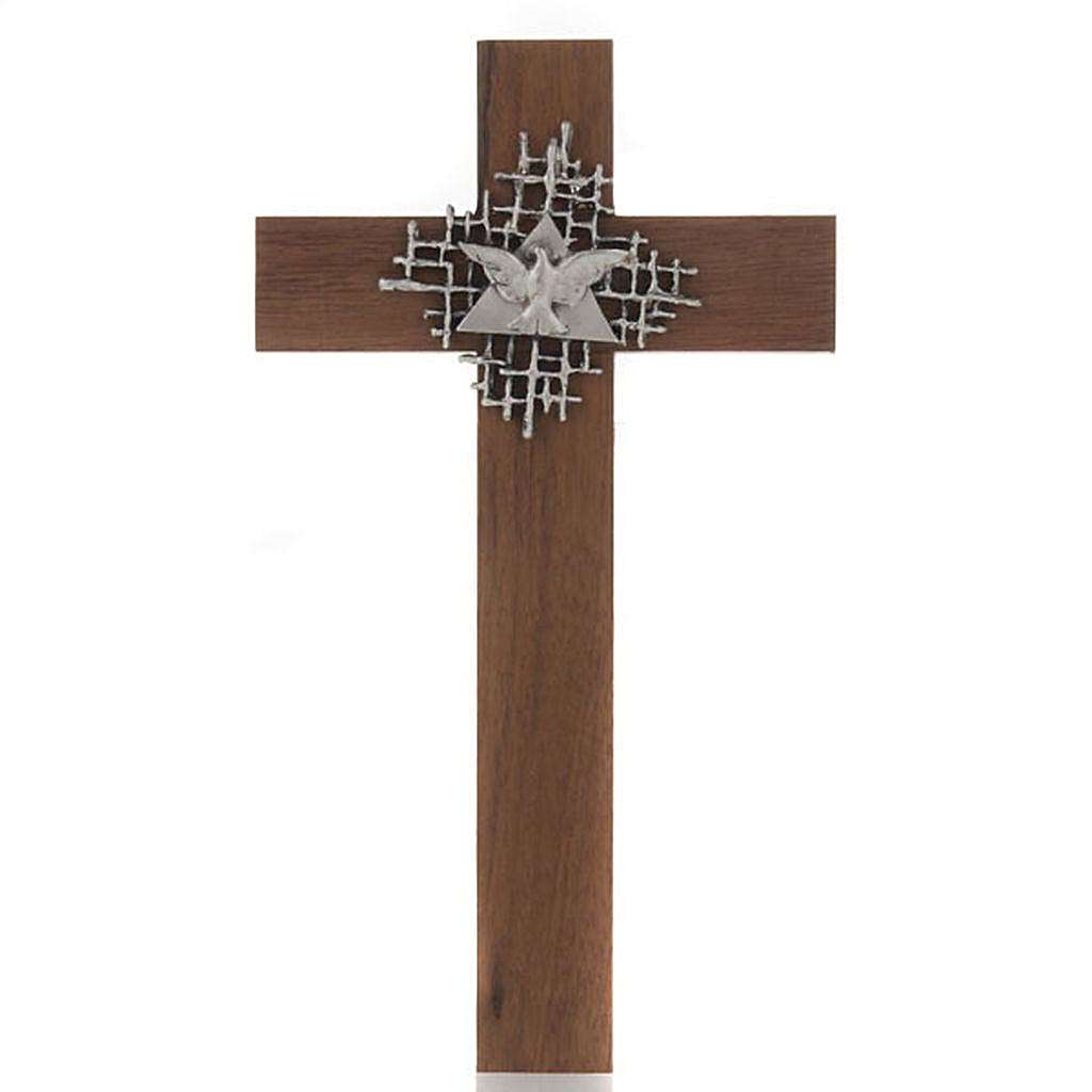 Cross in walnut wood with Father and Holy Spirit 4