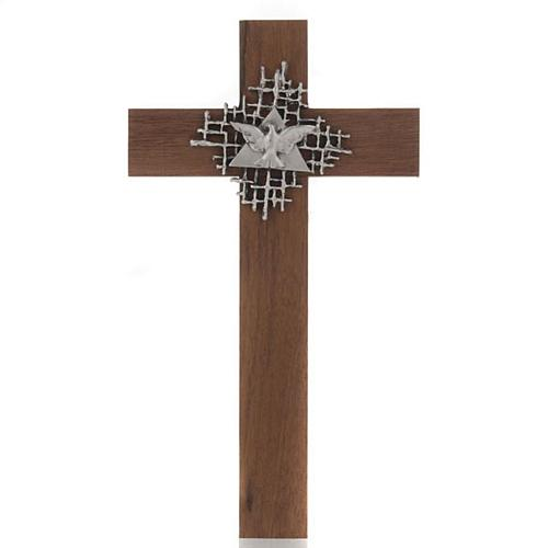 Cross in walnut wood with Father and Holy Spirit 1