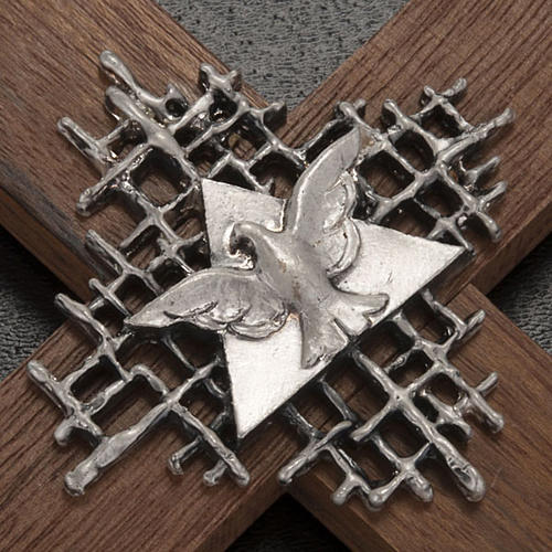 Cross in walnut wood with Father and Holy Spirit 2