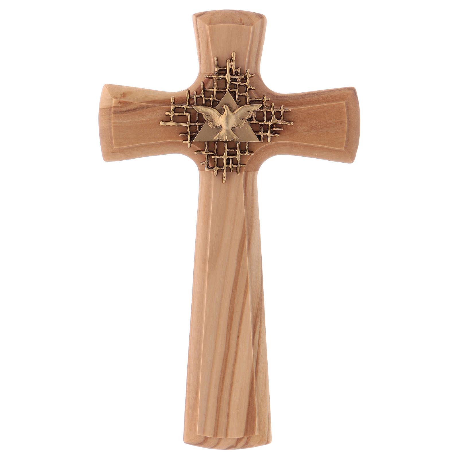 Crucifix bois d'olivier, Père, Saint Esprit, arrondi 4