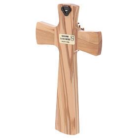 Crucifix bois d'olivier, Père, Saint Esprit, arrondi s3