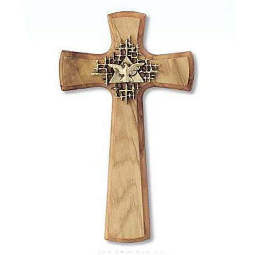 Crucifix bois d'olivier, Père, Saint Esprit, arrondi 1