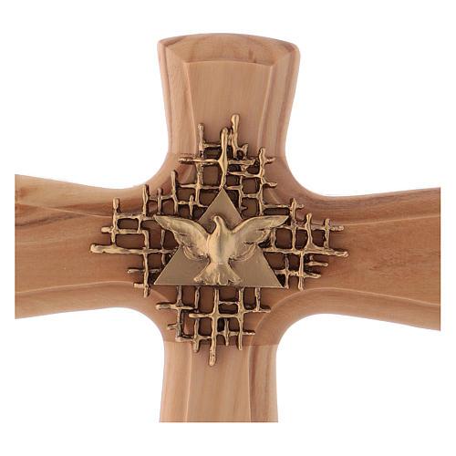 Crucifix bois d'olivier, Père, Saint Esprit, arrondi 2
