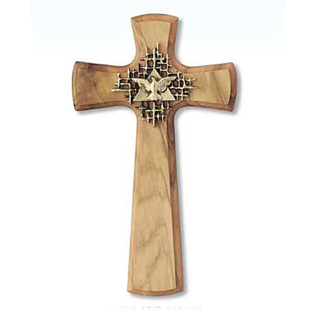 Cross in olive wood with the Holy Spirit symbol 4