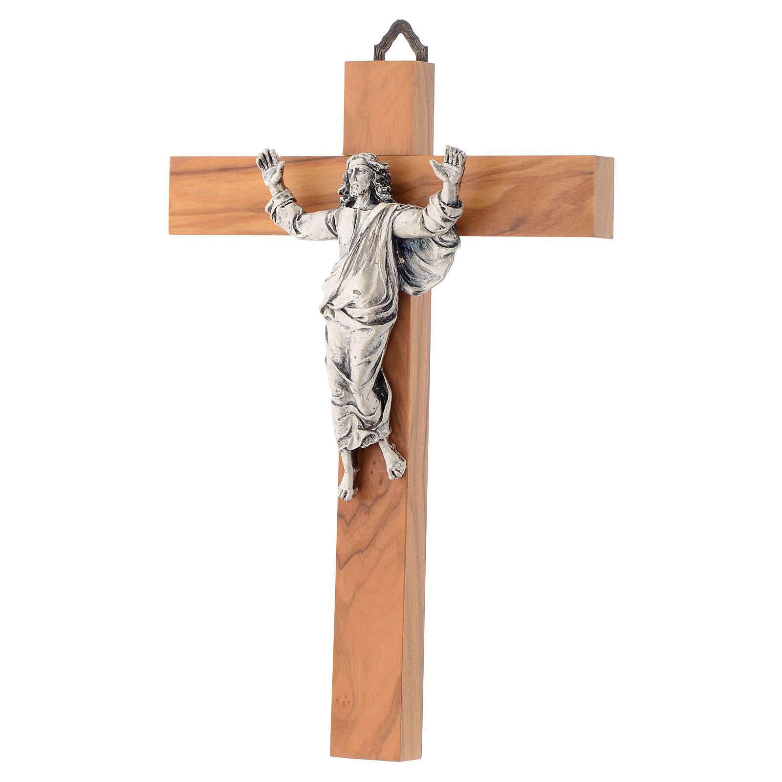 Cristo resucitado en plateado, cruz madera de olivo 4