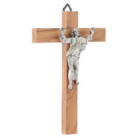 Cristo resucitado en plateado, cruz madera de olivo s3