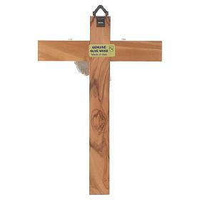 Cristo resucitado en plateado, cruz madera de olivo s4