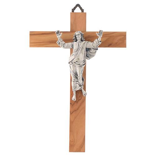 Cristo resucitado en plateado, cruz madera de olivo 1