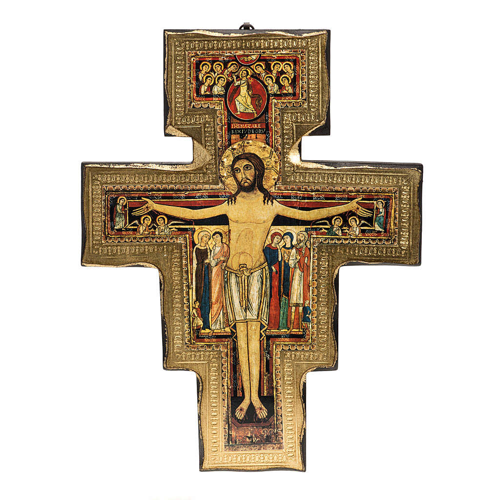 Saint Damien crucifix in wood with irregular edges 4