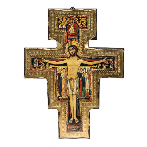 Saint Damien crucifix in wood with irregular edges 1
