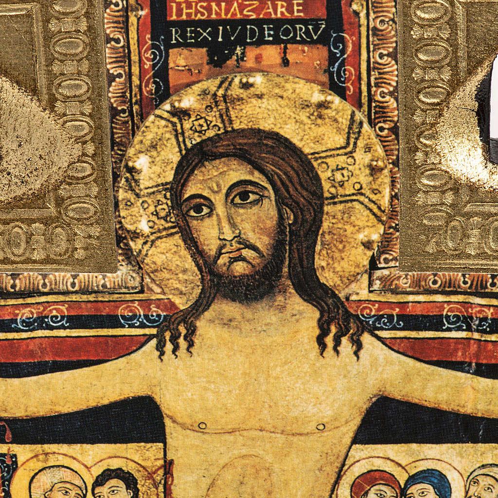 Crucifixo São Damião madeira borda irregular 4