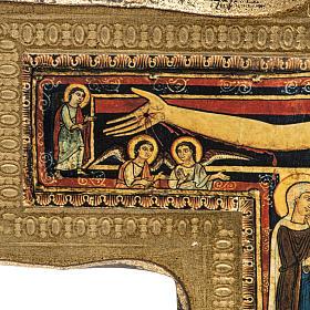 Crucifixo São Damião madeira borda irregular s4