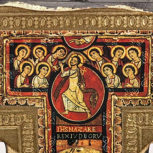 Crucifixo São Damião madeira borda irregular 3
