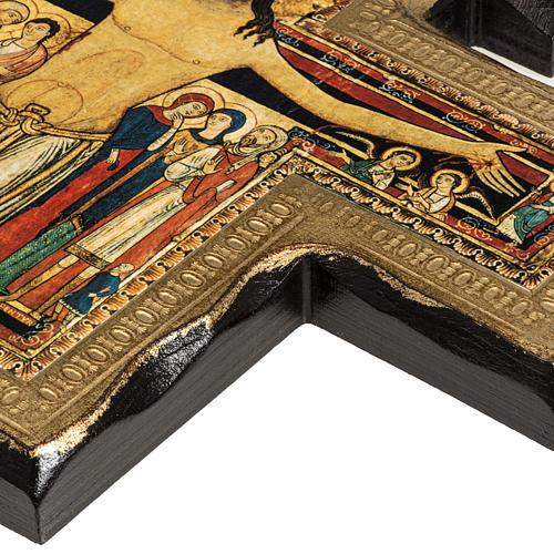 Crucifixo São Damião madeira borda irregular 5