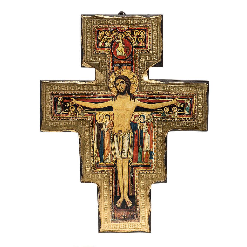 Saint Damien crucifix in wood with irregular edges 4