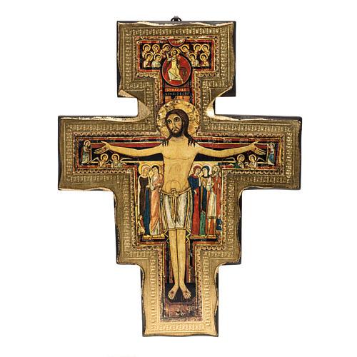Saint Damien crucifix in wood with irregular edges 1