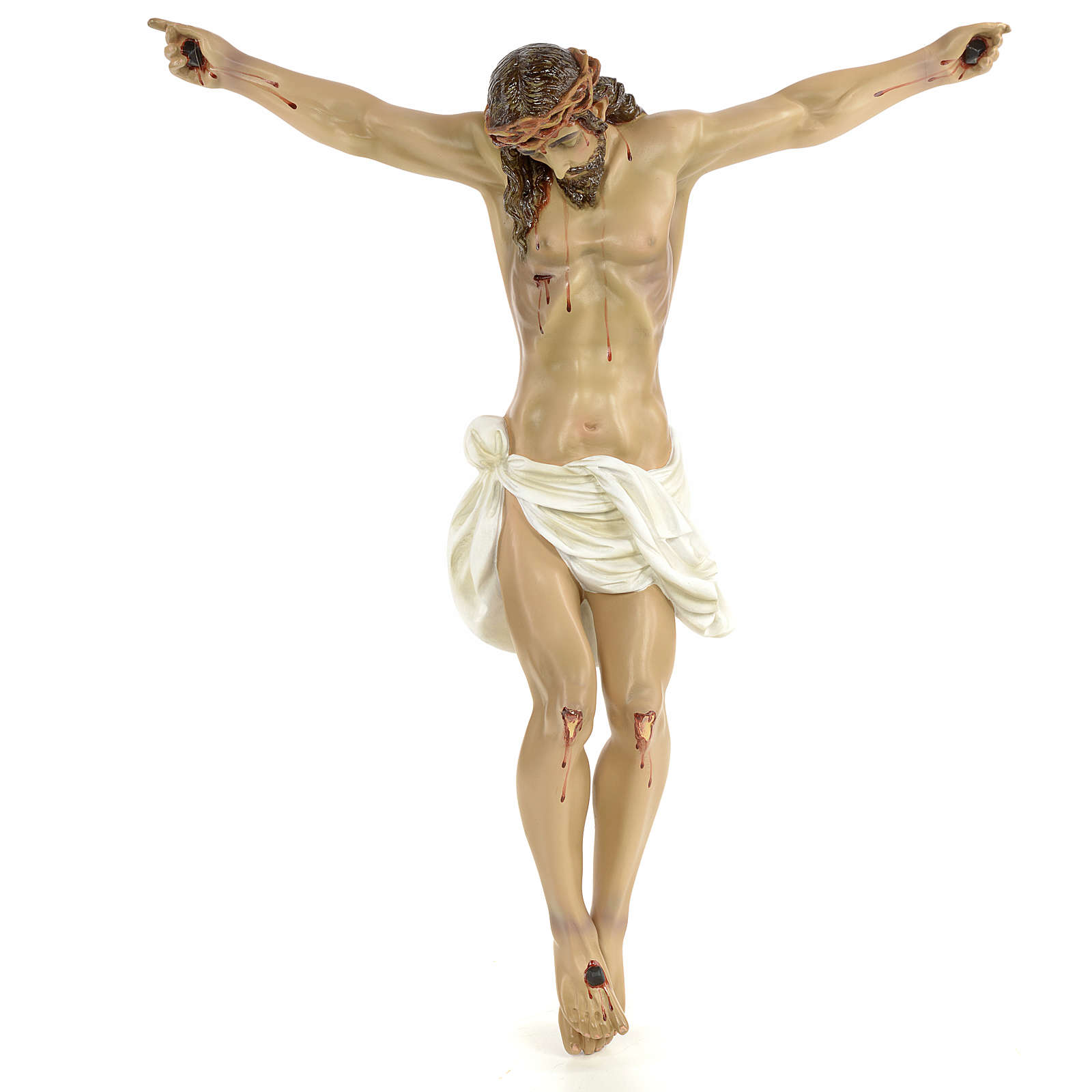 Body of Christ, 60cm in wood paste with elegant decorations 4