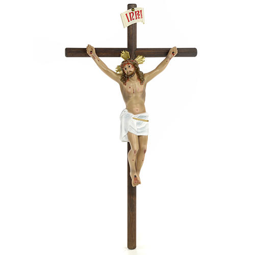 Crucifix, 30cm in wood paste with elegant decorations 1
