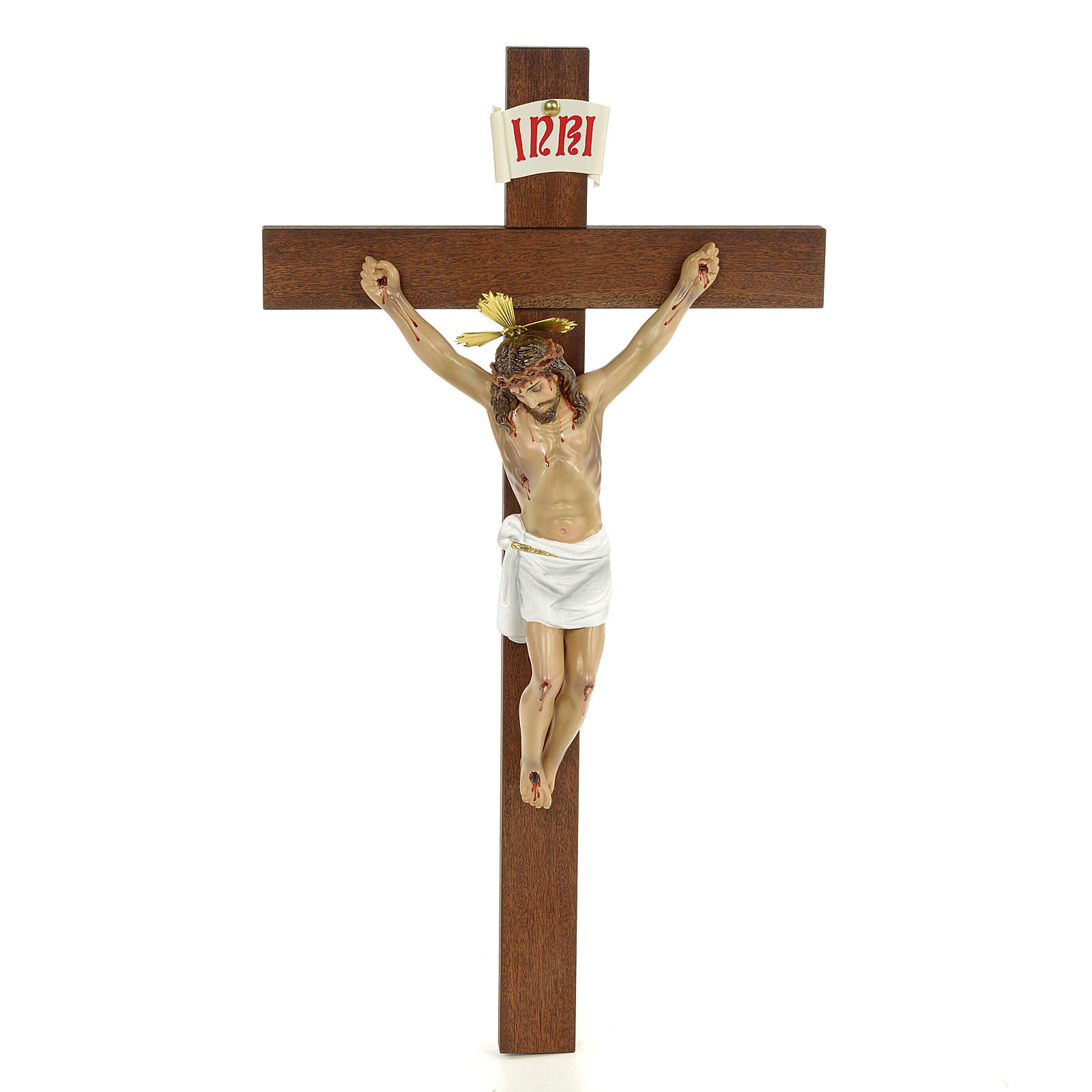 Classic crucifix, 30cm in wood paste with elegant decorations 4