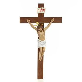 Classic crucifix, 30cm in wood paste with elegant decorations s1